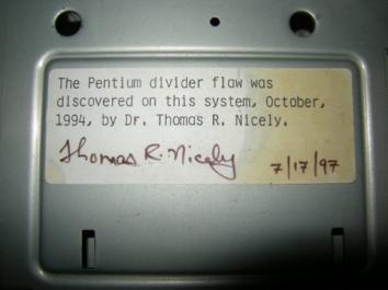 Pentium chip's math error